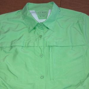 Green L.L. BEAN Fishing Camp Hiking Shirt Size XL